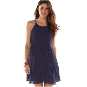 ELLE Blue Lined Pleated Trapeze Party Dress M